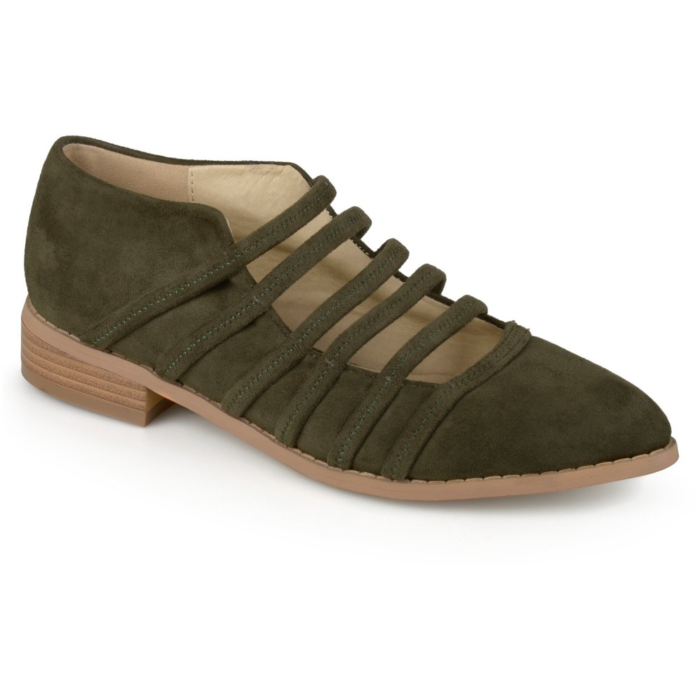 Womens Journee Collection Otto Strappy Almond Toe Flats - Olive 8, Green Olive