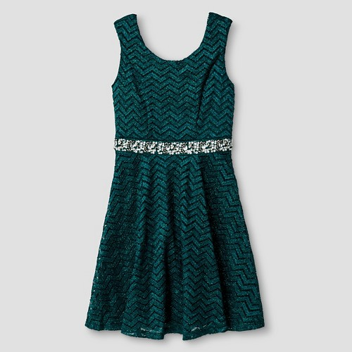 Girls' Lots of Love Skater Dress with Lace - Alack/ White 7, Girl's, Green