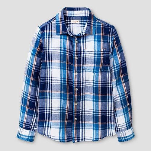 Boys' Check Long Sleeve Button Down Shirt Cat & Jack - Navy XS, Boy's, Blue Red