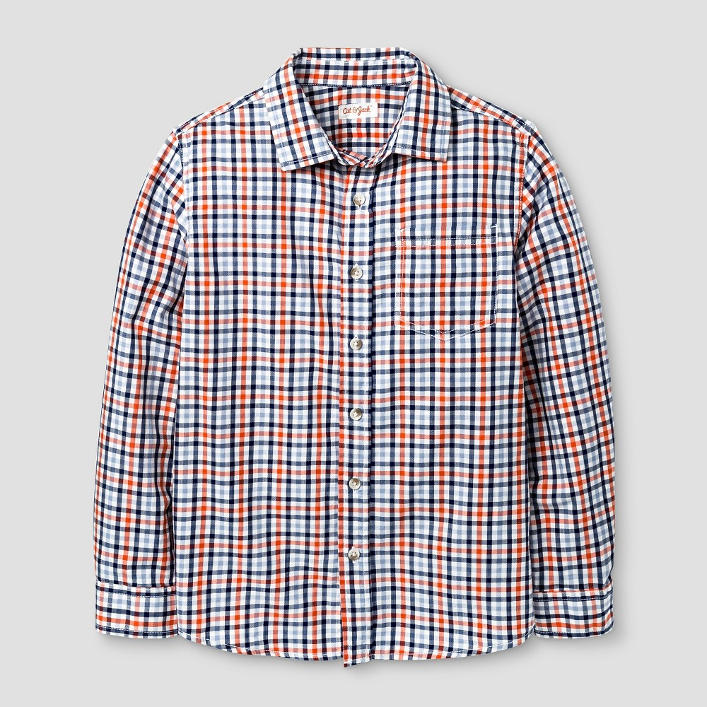 Boys Plaid Long Sleeve Button Down Shirt - Cat & Jack L Husky, Multicolored