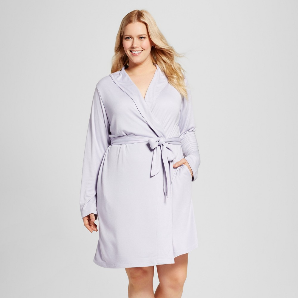 Womens Plus Size Mid Weight Robe - Cultured Violet 3X, Purple