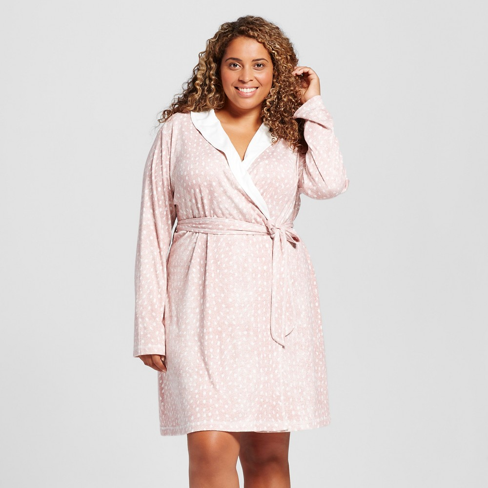 Womens Plus Size Mid Weight Robe - Pink Animal Print 2X, Almond Cream