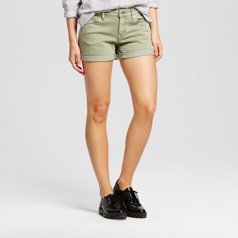 Womens Mid Rise Midi Shorts - Mossimo Green 18