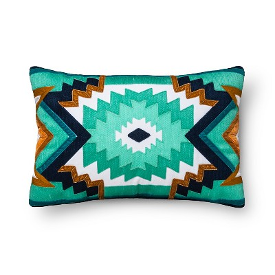 Green & Blue Embroidered Velvet Applique Throw Pillow - Xhilaration™