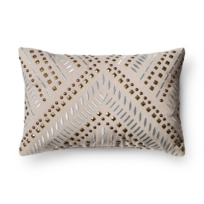 Gray Studded Metallic Throw Pillow - Xhilaration™