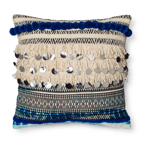 Blue Fringe and Sequins Throw Pillow - Xhilaration™ - image 1 of 2