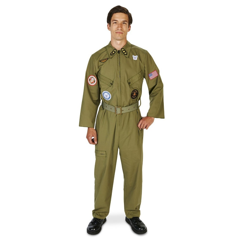 1940s Men's Costumes: WW2, Sailor, Zoot Suits, Gangsters, Detective Fighter Pilot Jumpsuit Mens Costume Large Multicolored Green $36.74 AT vintagedancer.com