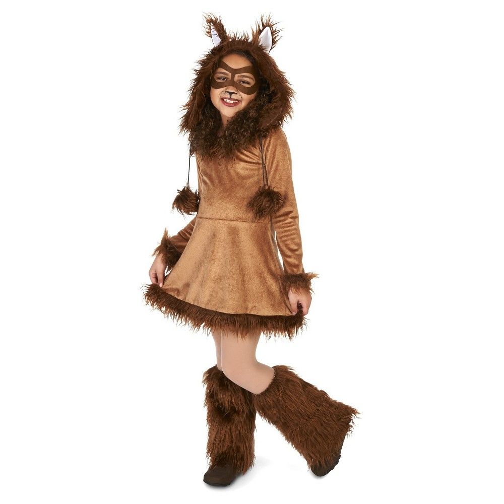 Furry Fox Childs Costume Large, Girls, Brown
