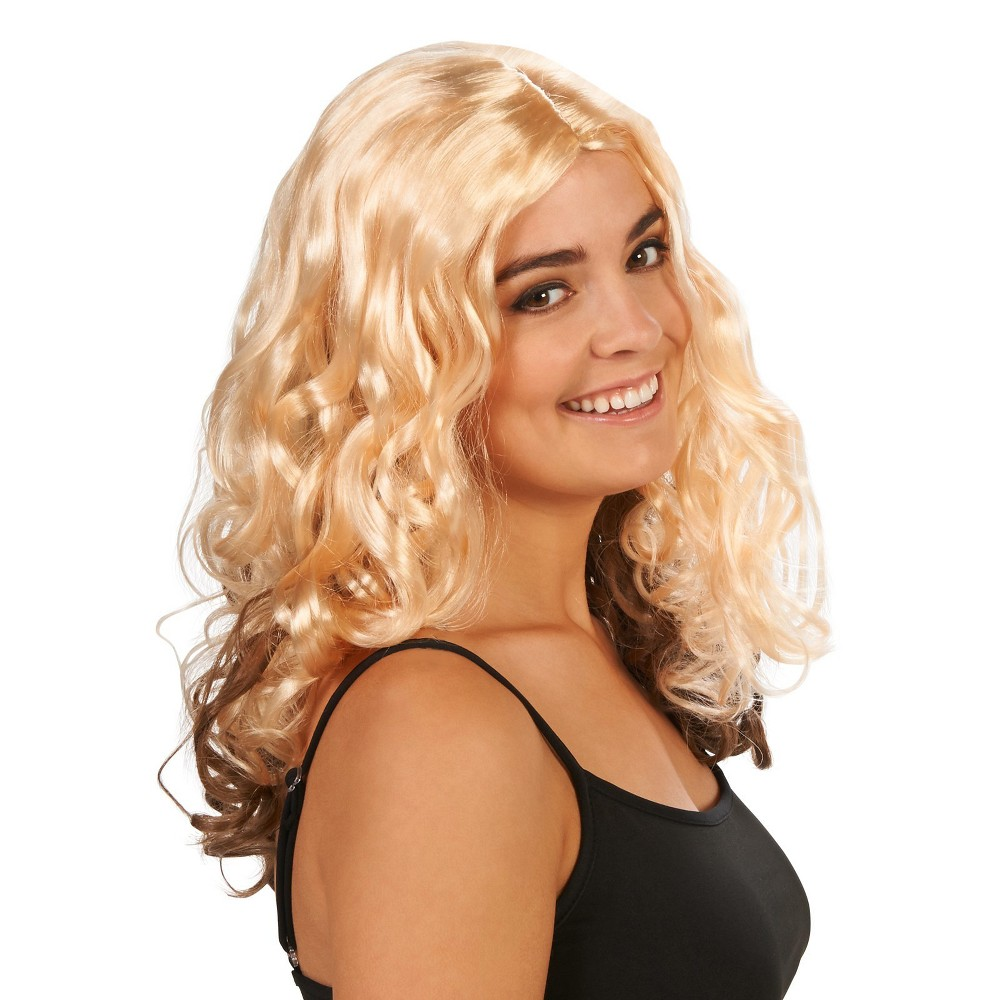 Blonde Curly Womens Costume Wig, Yellow