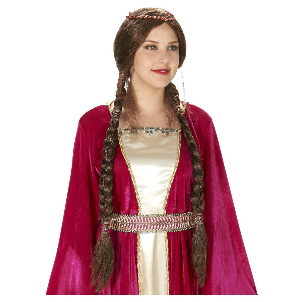 Renaissance Braided Womens Costume Wig Brown - One Size Fits Most