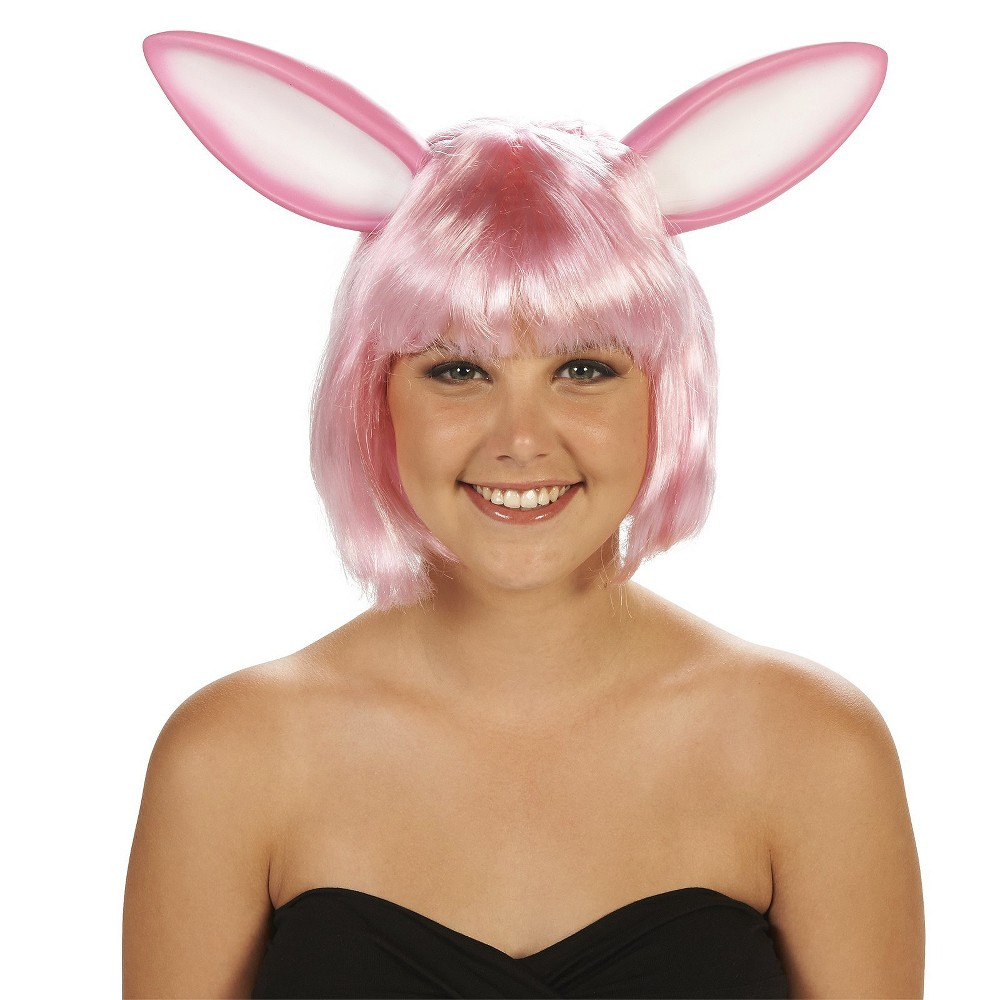 Rabbit Ears Womens Costume Wig Pink - One Size Fits Most
