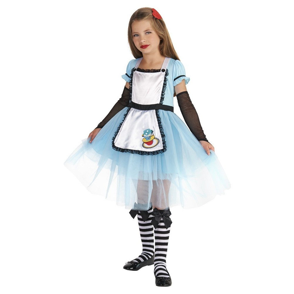 Alice Child with Knee Highs and Hair Clip Costume M(7-8), Girls, Blue