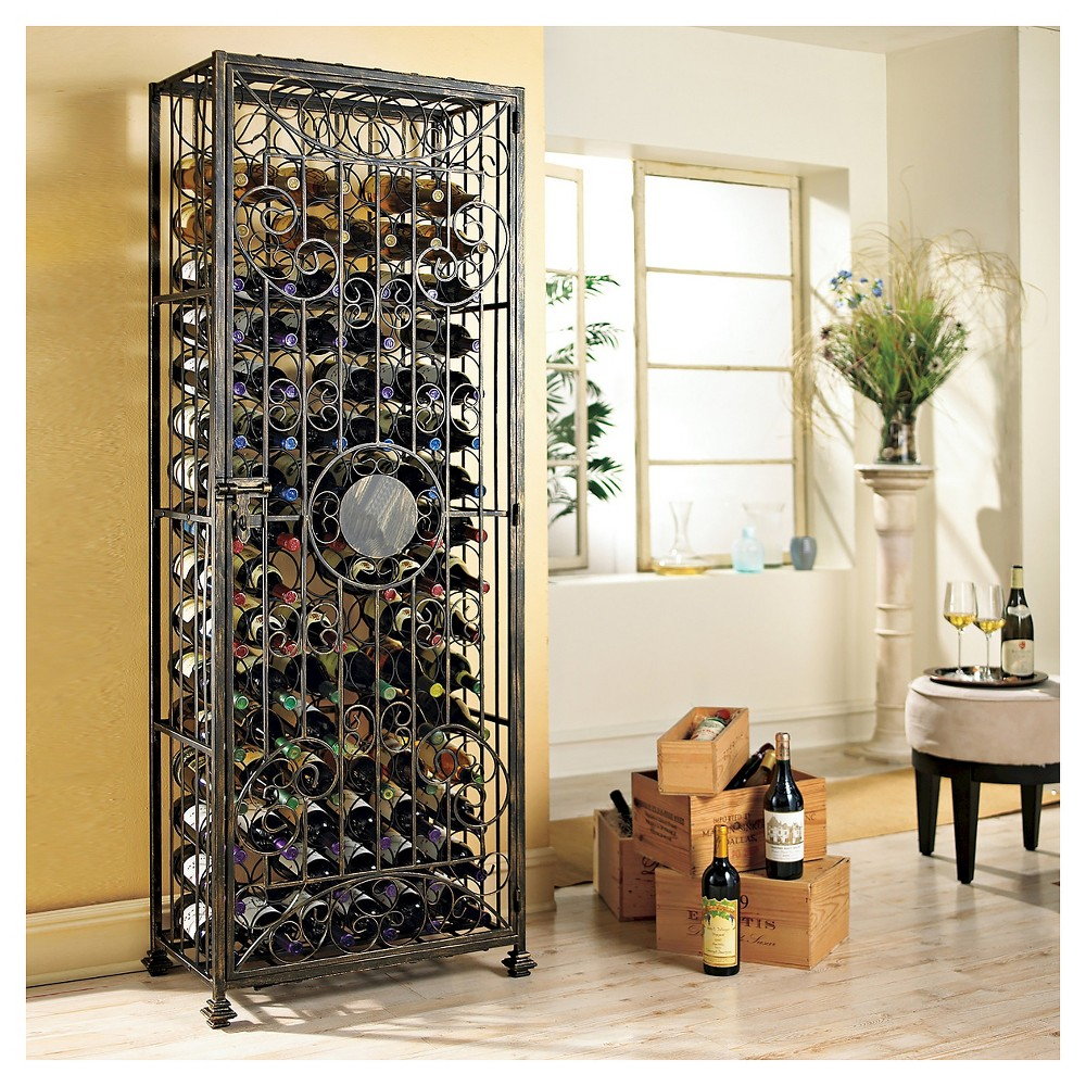 138 Bottle Tie Grid Wine Rack Black - The Wine Enthusiasts, Bronze