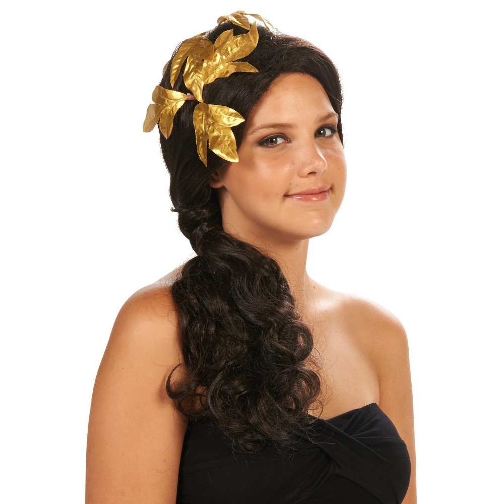 Greek Goddess Womens Costume Wig with Gold Hair Piece, Black