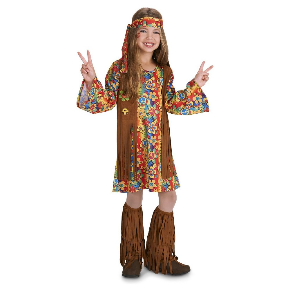 60s Hippie with Fringe Childs Costume - Large, Girls, Multicolored