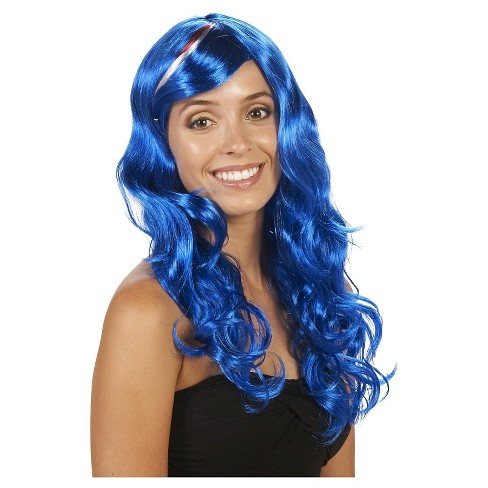 Murica Curly Women's Costume Wig Blue - One Size Fits Most - image 1 of 3