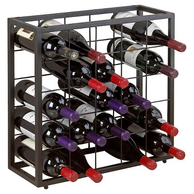 stackable 25 bottle grid wine rack black steel the wine enthusiasts