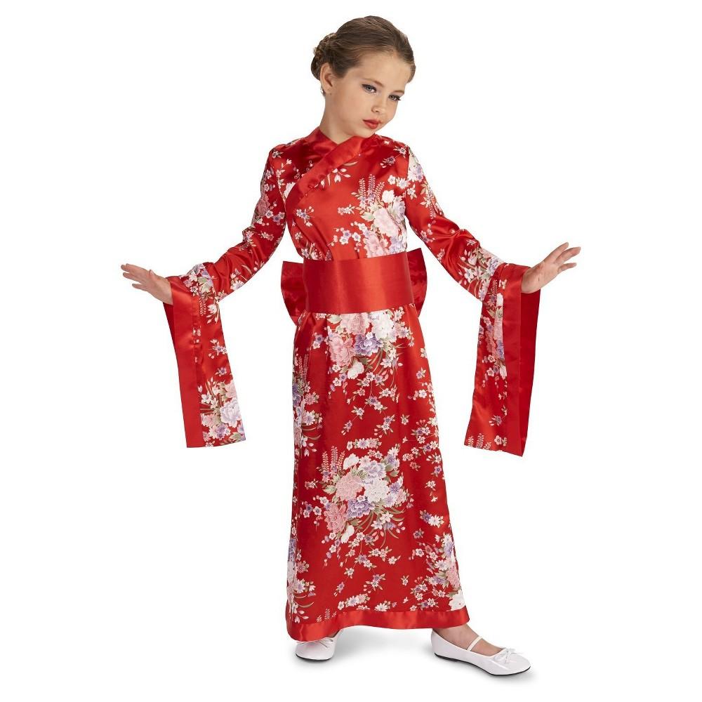 Japanese Kimono Childs Costume - M(7-8), Girls, Red