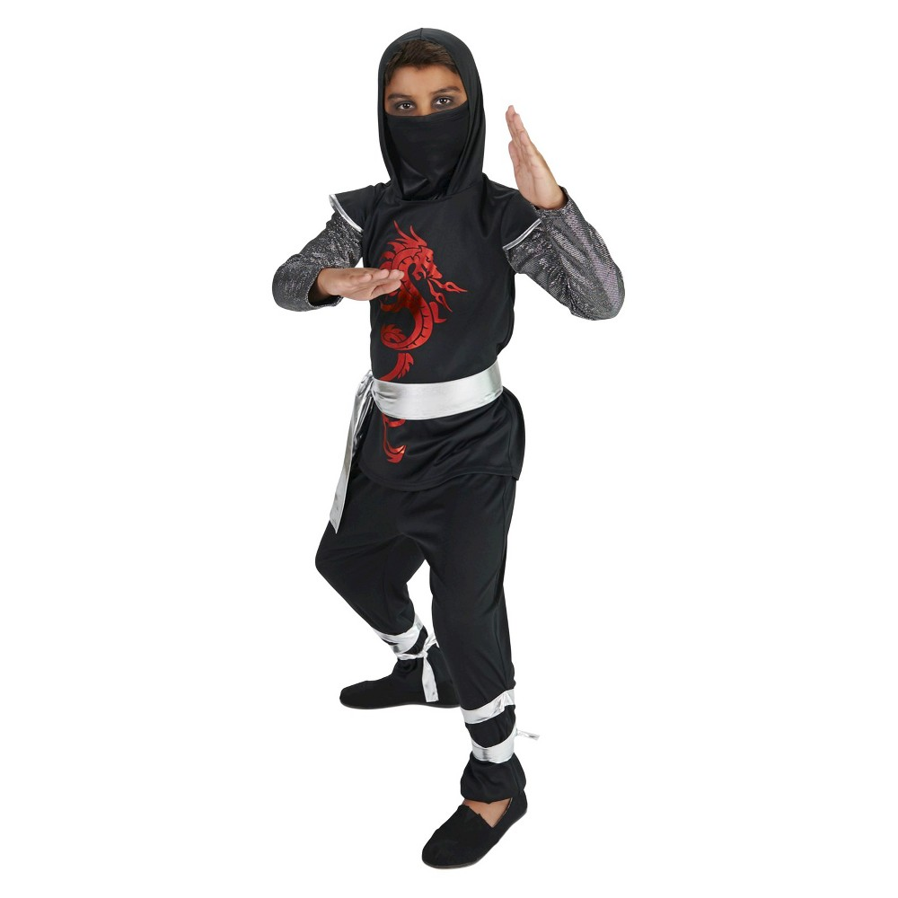 Dark Dragon Ninja Childs Costume M(7-8), Boys, Black