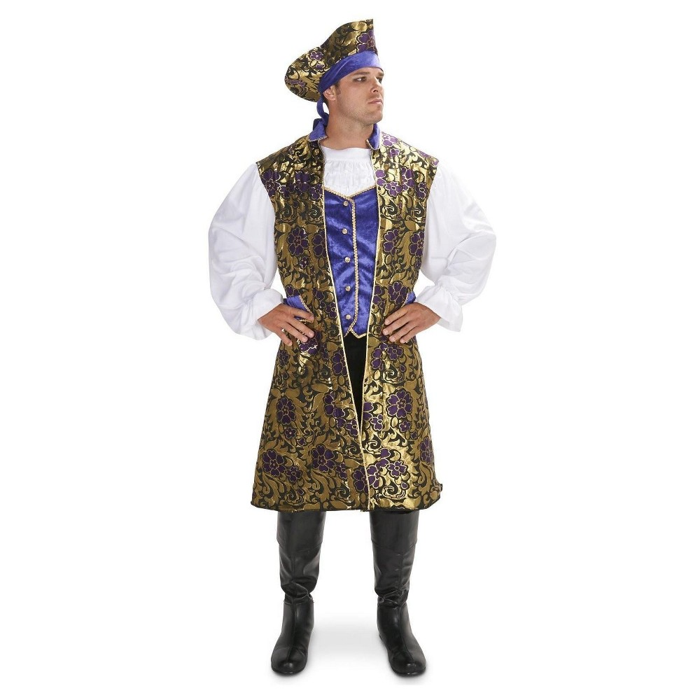 Royal Brocade Tunic Vest Set Mens Costume Large, Multicolored