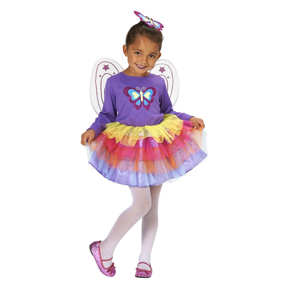 Neon Butterfly Childs Costume M(7-8), Girls, Purple