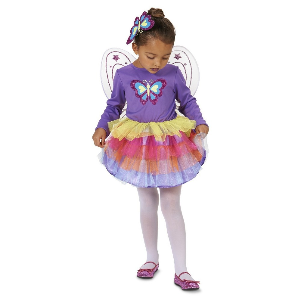 Neon Butterfly Toddler Costume - 2T-4T, Toddler Girls, Size: 2T/4T, Purple