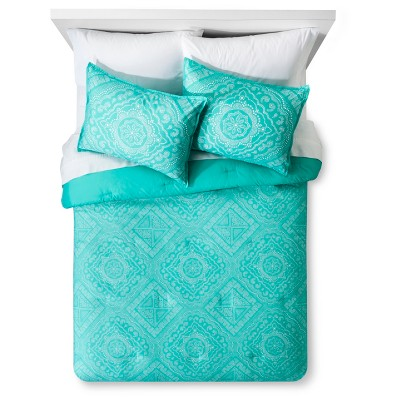 Green Dotted Medallion Printed Comforter Set (Full/Queen)3pc - Xhilaration™