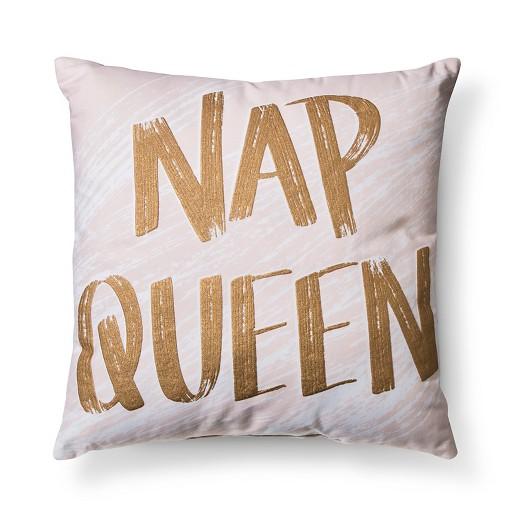 "Blush ""Nap Queen"" Throw Pillow Xhilaration™ Tar"