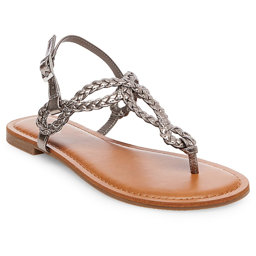 Womens Jana Quarter Strap Sandals - Merona Pewter (Silver) 6