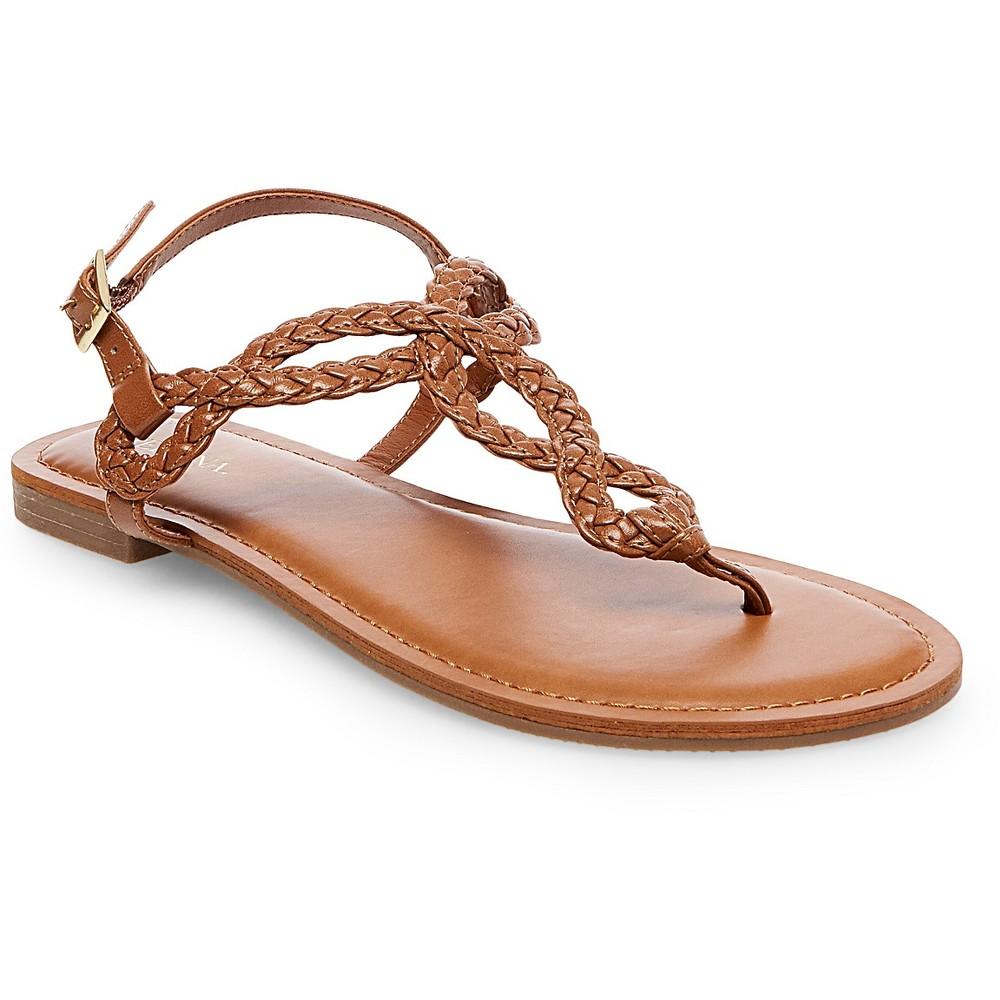 Womens Wide Width Jana Quarter Strap Sandals - Merona Cognac (Red) 6W, Size: 6 Wide