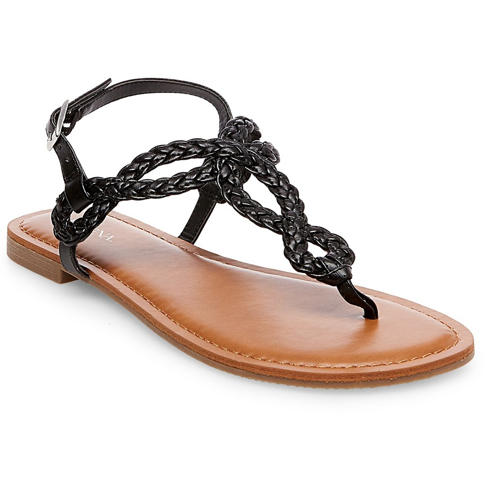 Womens Wide Width Jana Quarter Strap Sandals - Merona Black 5.5W, Size: 5.5 Wide