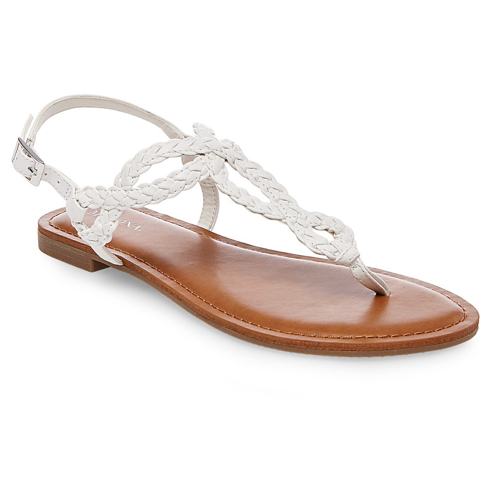 Womens Jana Quarter Strap Sandals - Merona White 9