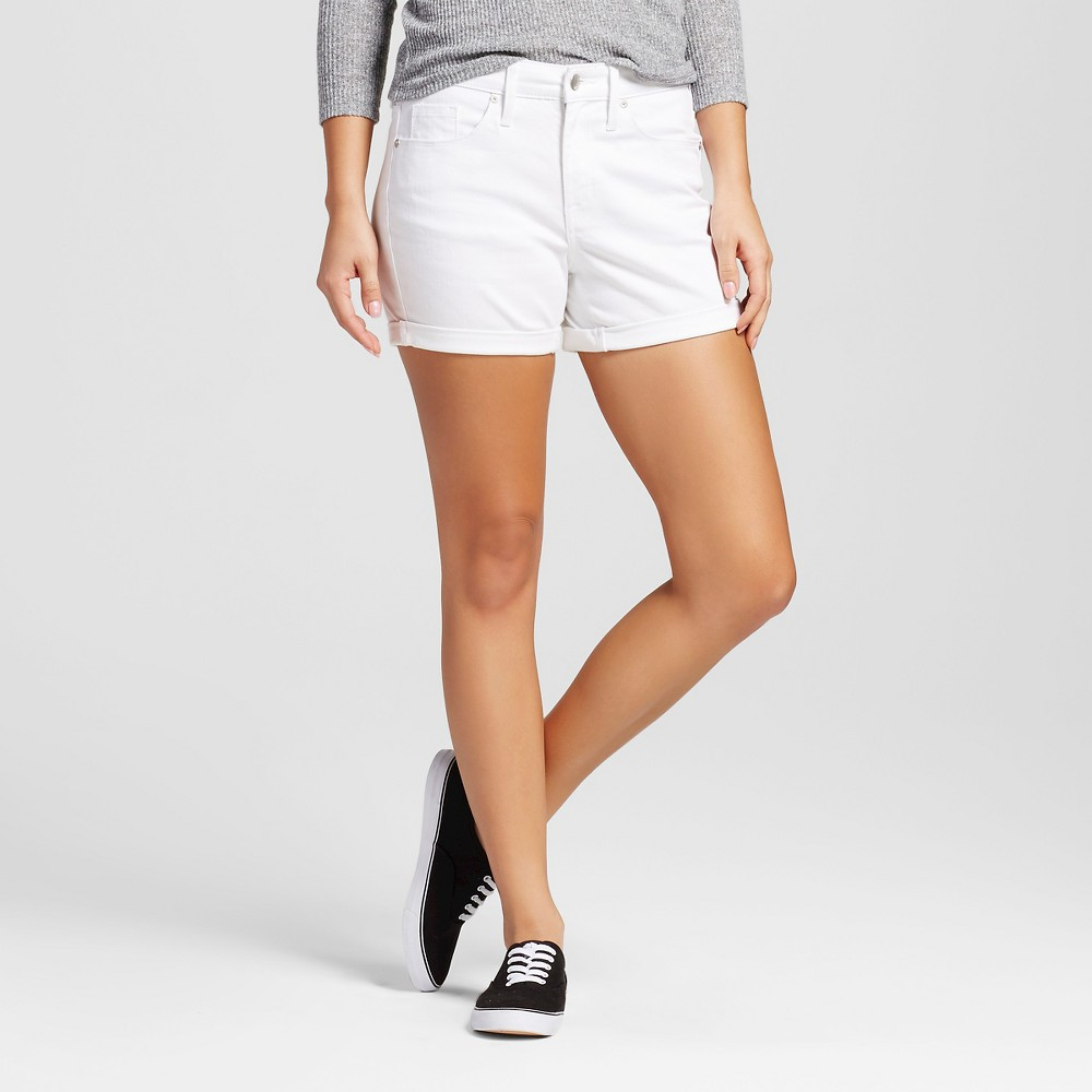 Womens High-Rise Midi Shorts - Mossimo White 2
