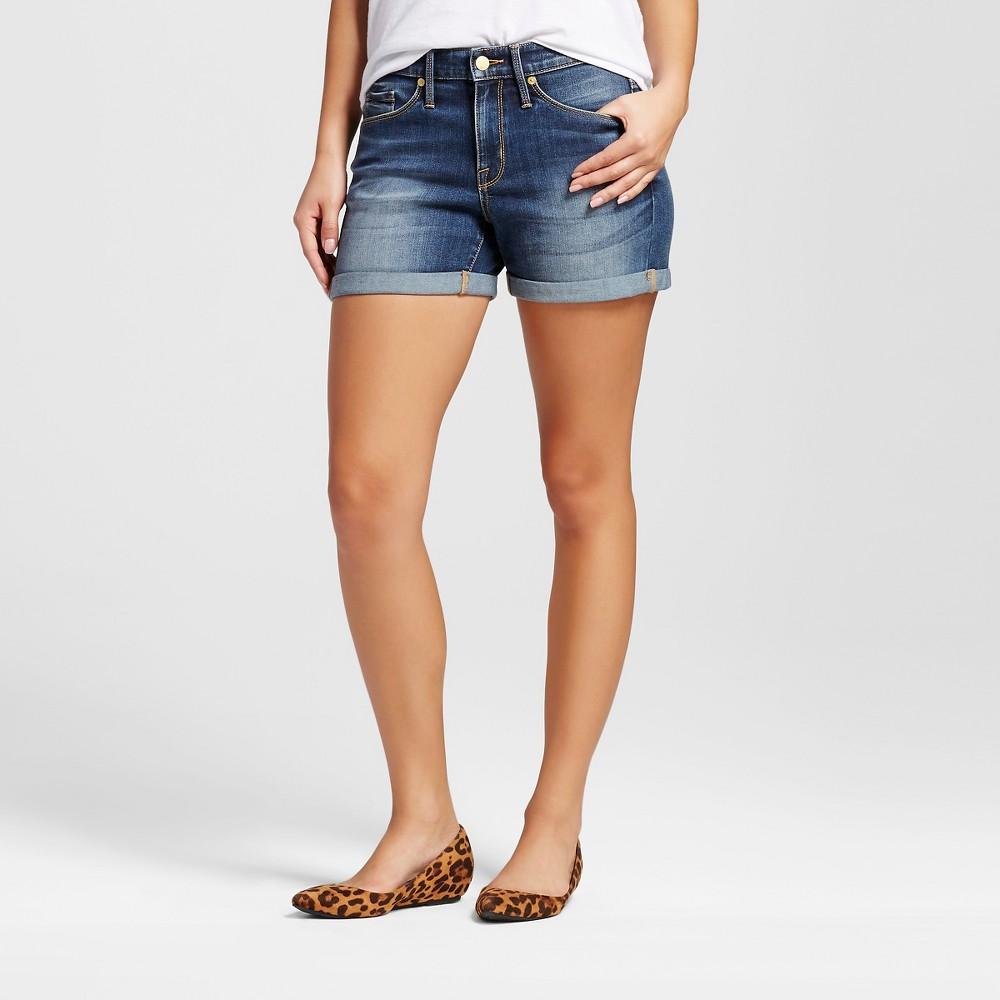 Women's High-rise Midi Shorts - Mossimo Dark Wash 16, Blue