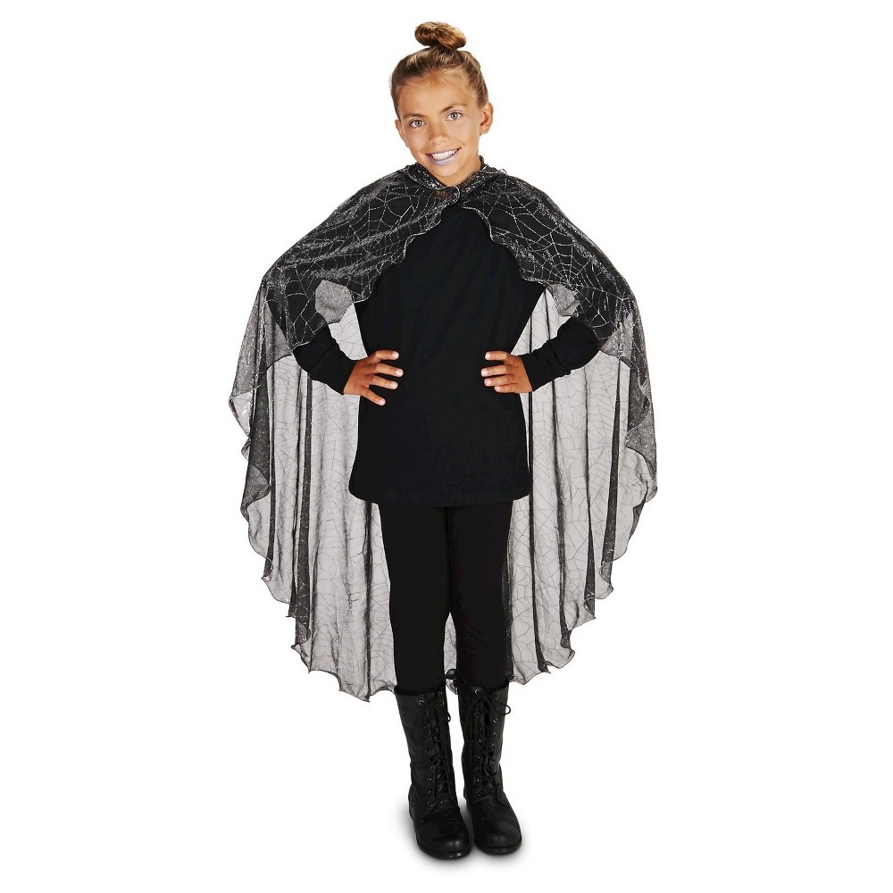 Spider Web with Hood Childs Cape, Boys, Black