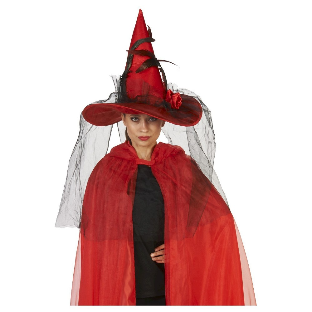 Womens Witch Hat with Feather Veil - One Size Fits Most, Red