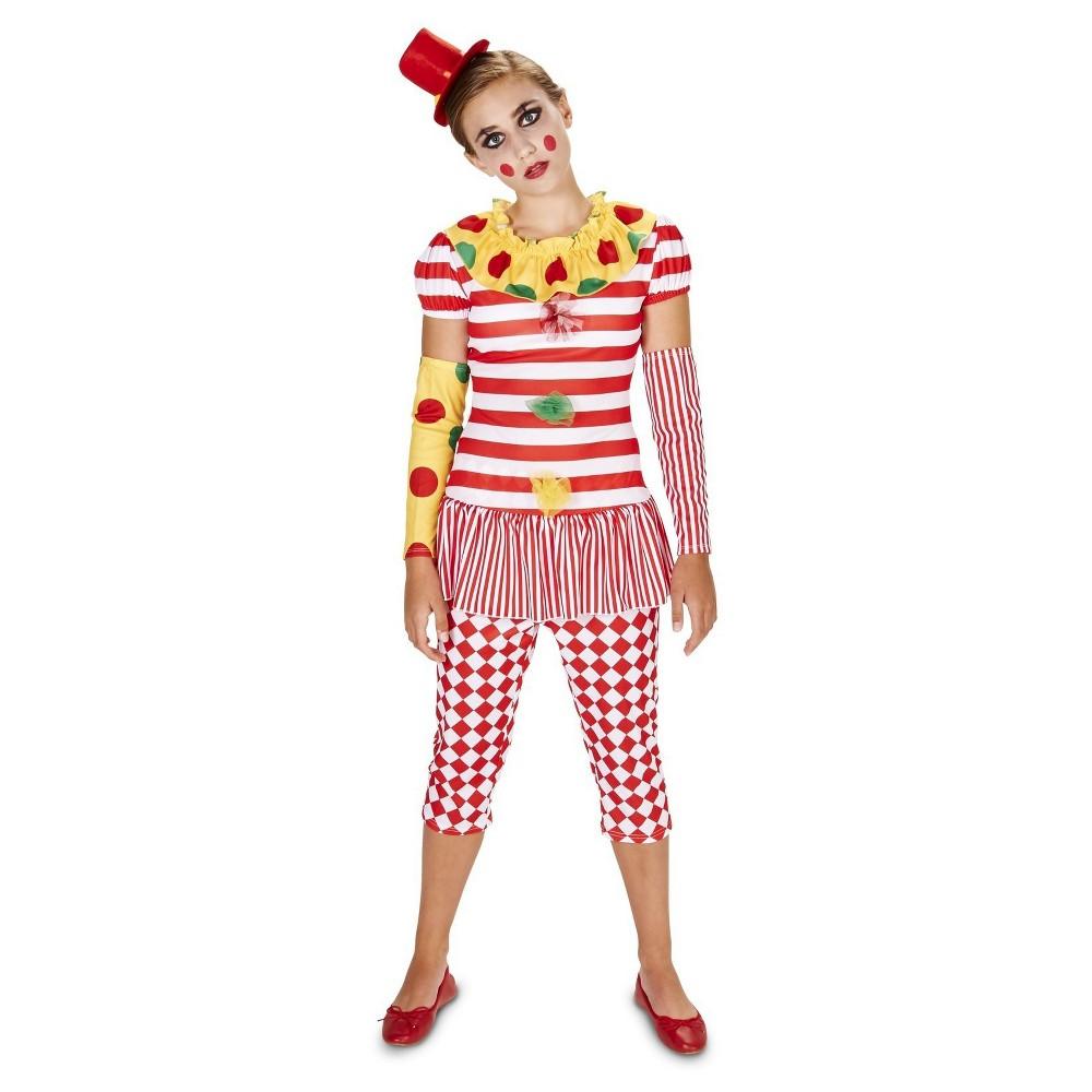 Girls' Clown Vintage Lady Costume - Medium 7/8, Size: M(7-8), Red