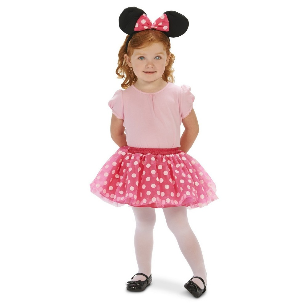 Childs Dot Tutu with Mouse Ear Headband S(4-6), Girls, Multi-Colored
