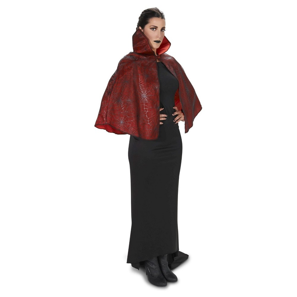 Spider Web Print WoAdult Cape Red, Adult Unisex