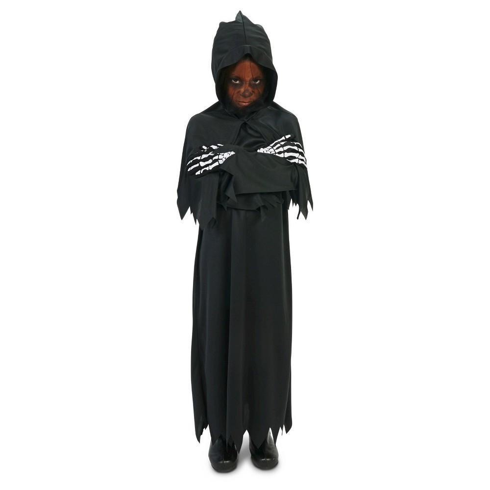 Hooded Dark Grim Reaper Childs Costume M(7-8), Boys, Black