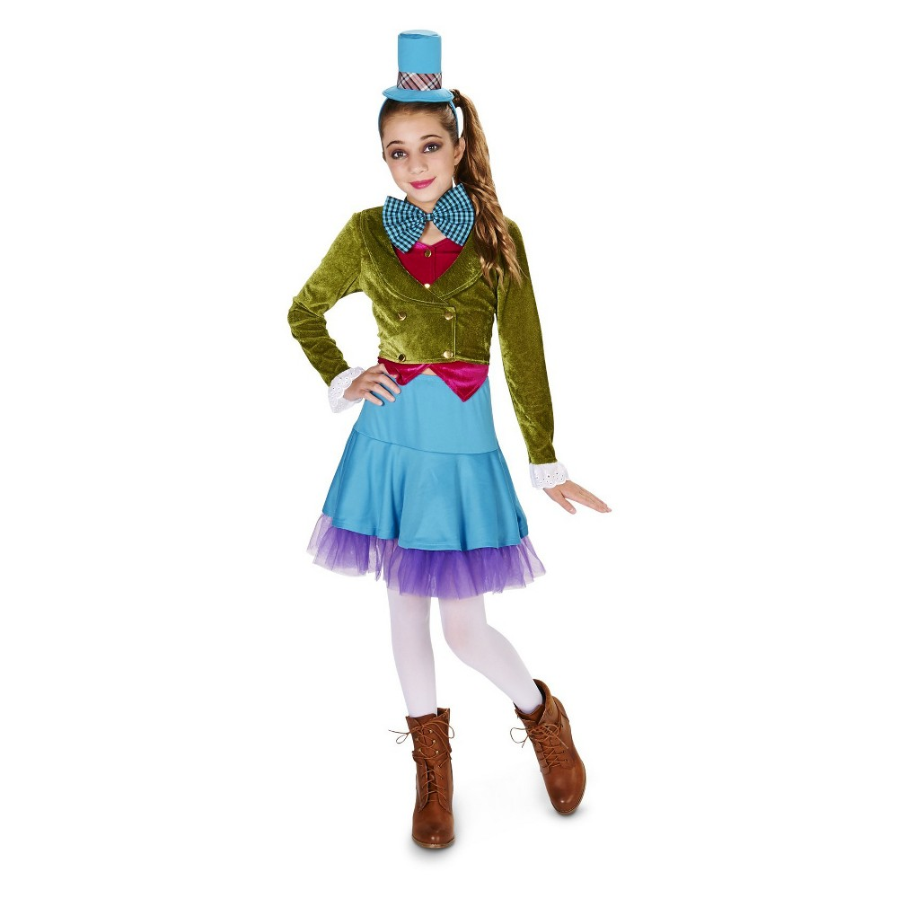 Vivid Mad Hatter Tween Costume M(7-8), Girls, Multicolored