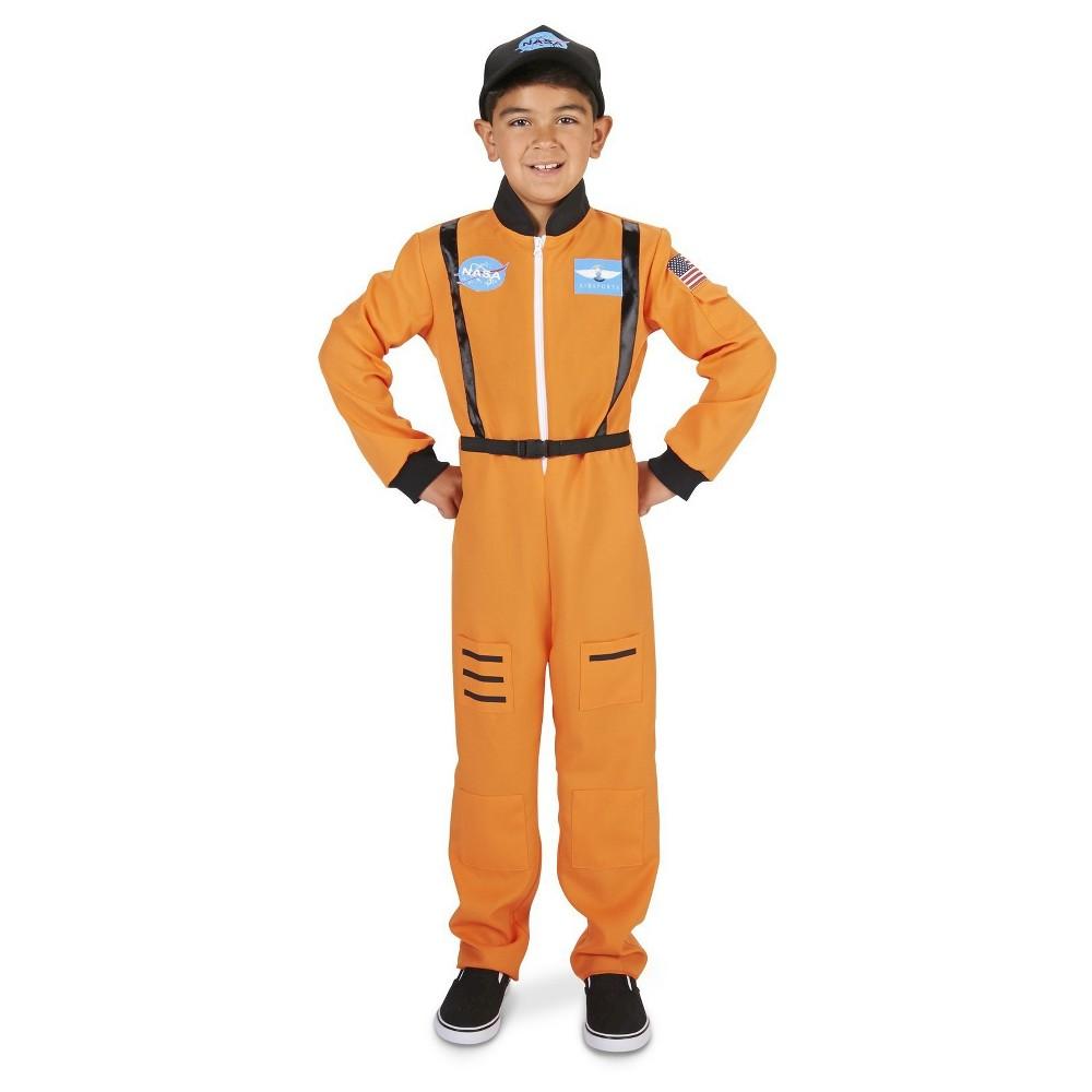 Astronaut Suit Childs Costume M(7-8), Boys, Orange