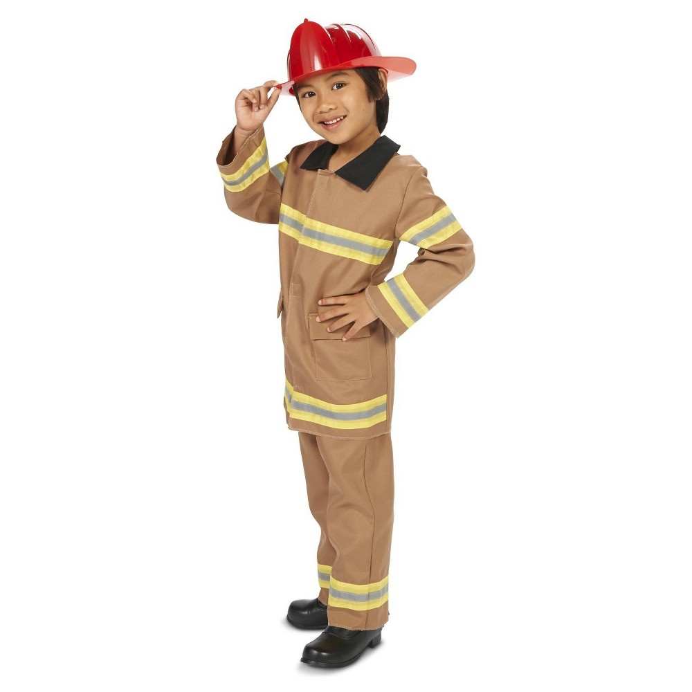Wee Little Firefighter with Helmet Child's Costume M(8-10), Boy's, Beige