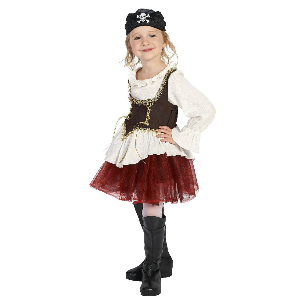Pirate with Tutu Girl Childs Costume M(8-10), Multicolored