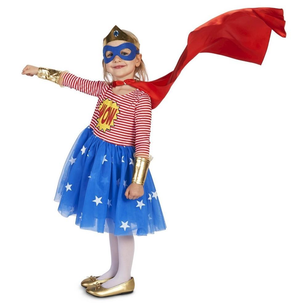 Pop Art Comic Superhero Girl Costume - 2T-4T, Size: 2T/4T, Multicolored