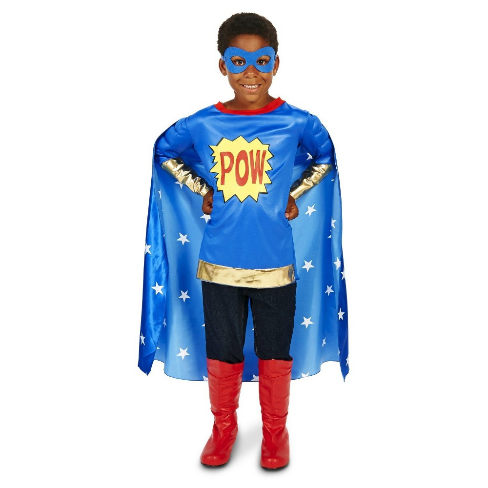 Pop Art Comic Super Hero Pow Boy Childs Costume M(8-10), Blue