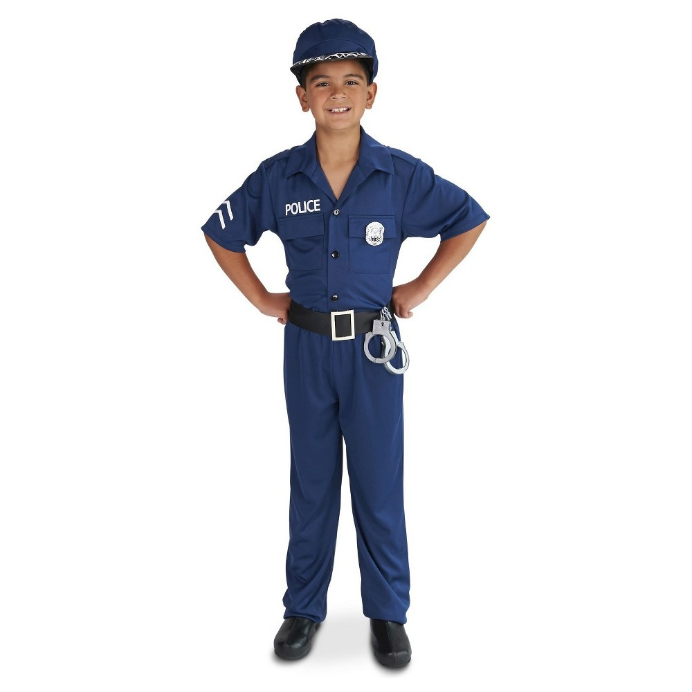 Police Officer Childs Costume - S(4-6), Boys, Blue