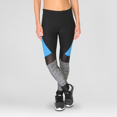 Women's Spliced Leggings with Mesh Blue S - RBX
