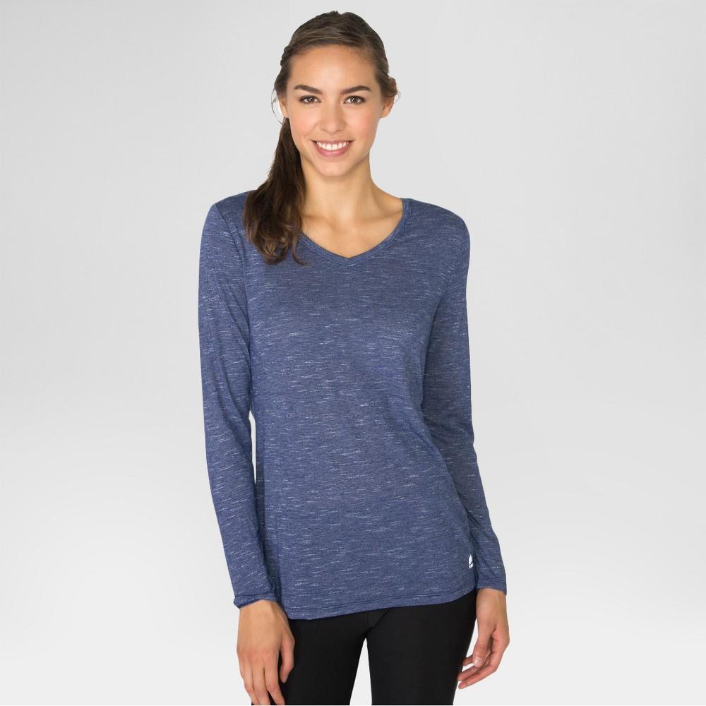 Women's Long Sleeved Striped T-Shirt Navy Blue M - Rbx