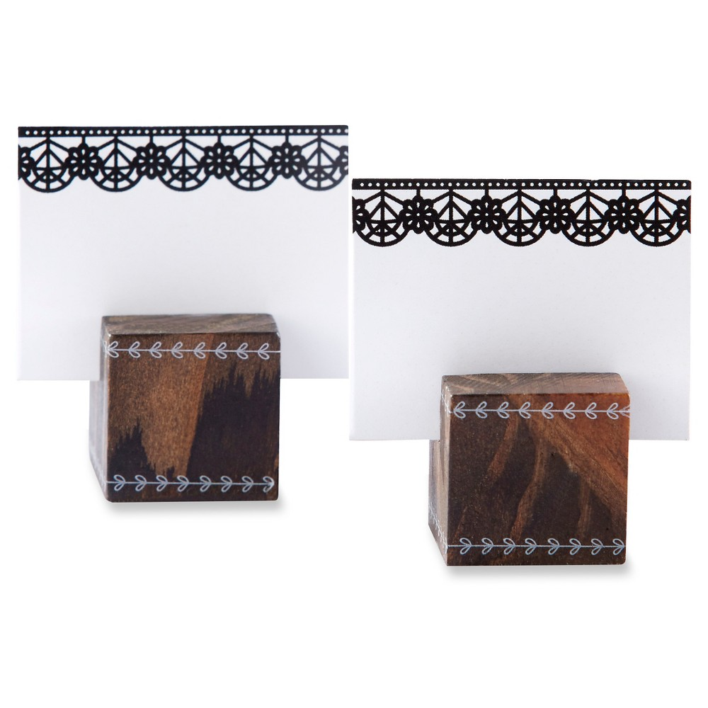 12ct Kate Aspen Romantic Garden Wood Cube Place Card Holder